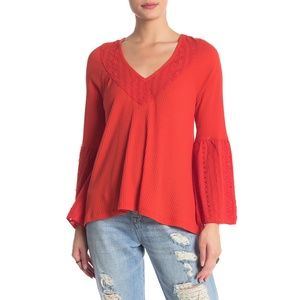 Free People Parisian Nights Vermillion Eyelet Top